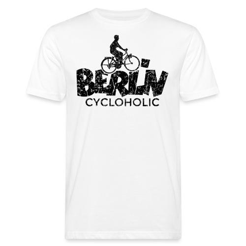 Berlin Cycloholic (Vintage/Schwarz) Fahrradfahrer - Männer Bio-T-Shirt