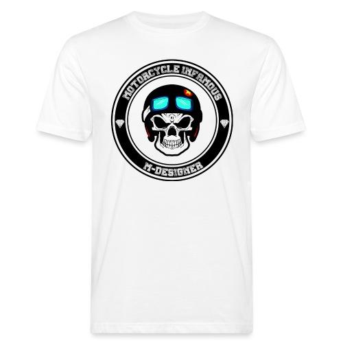 calavera con casco de moto impresa en playera - Camiseta ecológica hombre