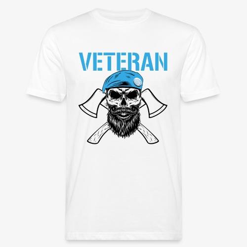 Veteran - Dödskalle med blå basker och yxor - Ekologisk T-shirt herr