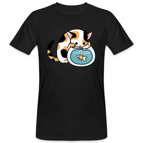 Katze mit Fisch im Glas - Männer Bio-T-Shirt