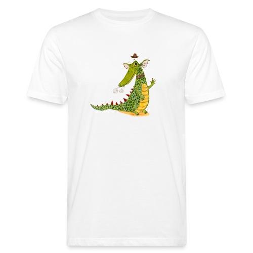 Drachenkrokodil mit schwarzem Logo - KlingBim - Männer Bio-T-Shirt