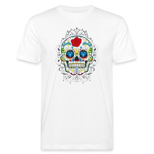 Rose und Diamantschädel - Männer Bio-T-Shirt