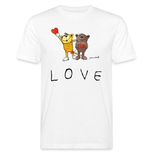 Janosch LOVE Schiftzug Tiger und Bär - Männer Bio-T-Shirt
