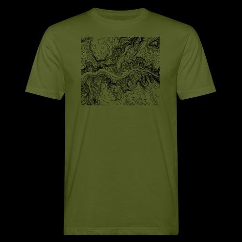 Hoehenlinien schwarz - Männer Bio-T-Shirt