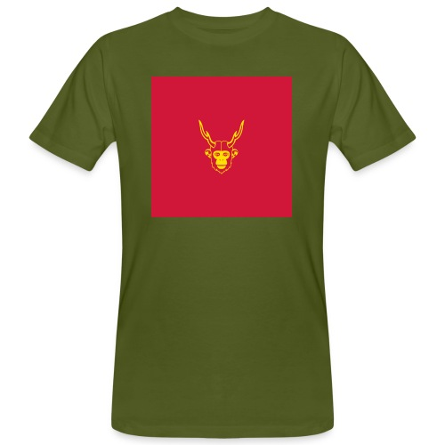 scimmiacervo sfondo rosso - T-shirt ecologica da uomo