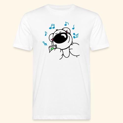 Der Bär hört Musik - Männer Bio-T-Shirt