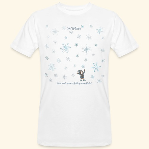 Just wish upon a falling snowflake in Winter - Männer Bio-T-Shirt