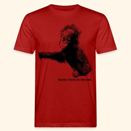 Orang-Utan-Baby mit Schriftzug groß schwarz - Männer Bio-T-Shirt