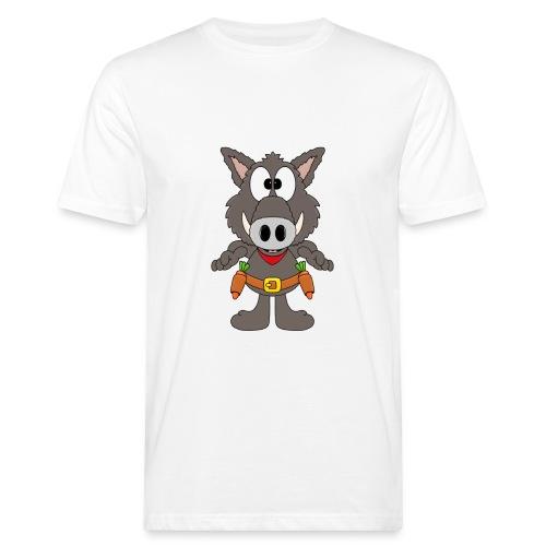 Lustiges Wildschwein - Cowboy - Möhren - Gemüse - Männer Bio-T-Shirt