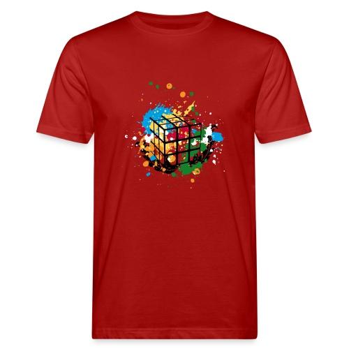 Rubik's Cube Colourful Splatters - Ekologisk T-shirt herr