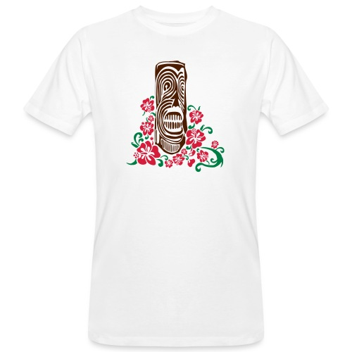 Tiki Totem with Hibiscus Flowers - Men's Organic T-Shirt