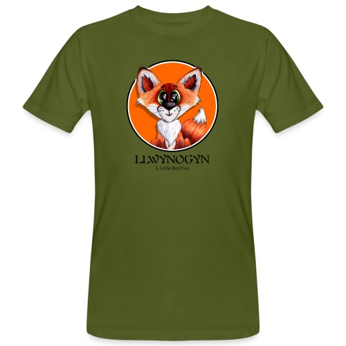 llwynogyn - a little red fox (black) - Miesten luonnonmukainen t-paita