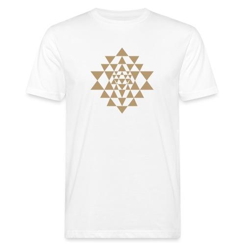Ruskea Shri Yantra -kuvio - Miesten luonnonmukainen t-paita