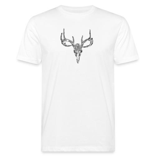 Deer skull with rose - Miesten luonnonmukainen t-paita