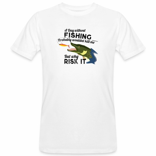 A Day without Fishing Hecht Pike Fishyworm Angel - Männer Bio-T-Shirt