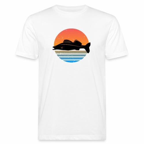 Retro Zander Angel Angler Raubfisch Geschenk Fisch - Männer Bio-T-Shirt