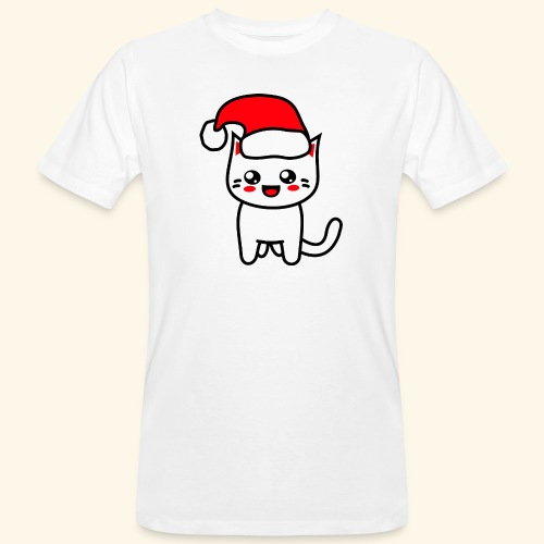 Kawaii Kitteh Christmashat - Männer Bio-T-Shirt