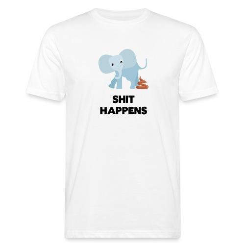 olifant met drol shit happens poep schaamte - Mannen Bio-T-shirt