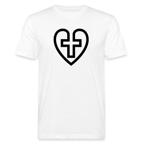 Symboliskt kristet kors i ett hjärta - Ekologisk T-shirt herr