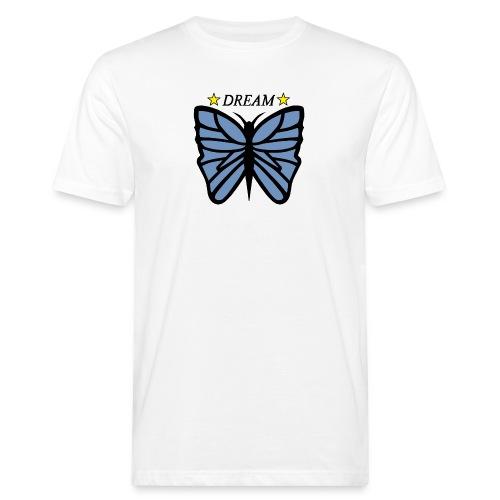 Fjäril, Dream Blå, vit, guld - Ekologisk T-shirt herr