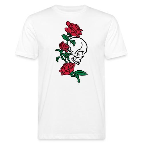 teschio e rose es123_2 - T-shirt ecologica da uomo