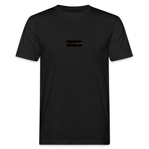 orange writing on black - Men's Organic T-Shirt
