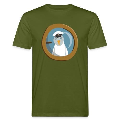 Freche Möwe mit Kapitänsmütze schaut aus Bullauge - Männer Bio-T-Shirt