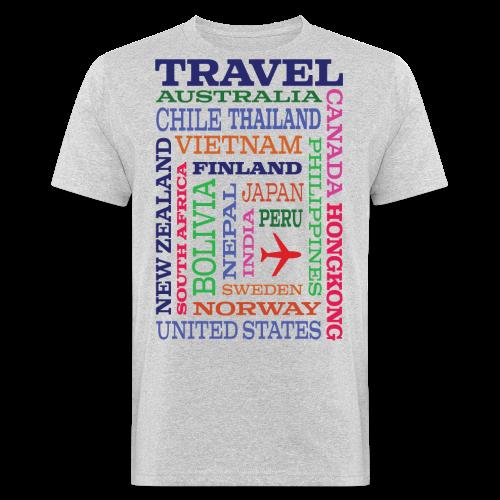 Travel Places design - Miesten luonnonmukainen t-paita