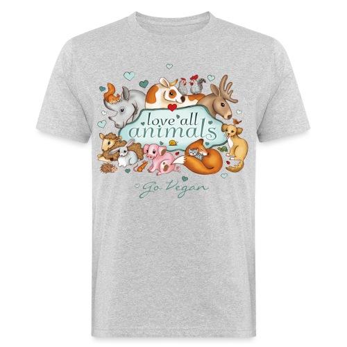 love all animals - go vegan - Men's Organic T-Shirt