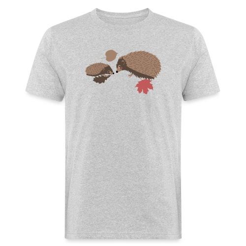 Igel Herbstfreunde beraten sich im Laub - Männer Bio-T-Shirt