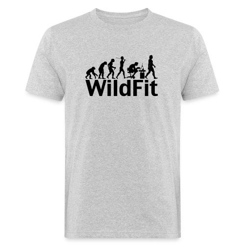 WildFit Logo Evolution in Schwarz - Männer Bio-T-Shirt