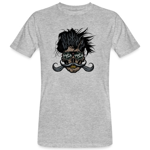 hipster skull tete de mort crane barbu moustache - T-shirt bio Homme