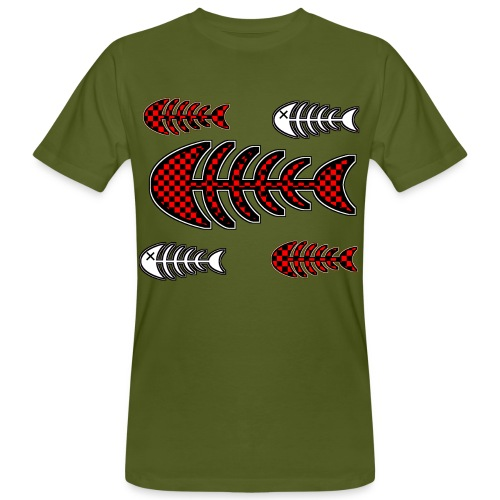 fish bones, skeleton with squares and cross to eye - Men's Organic T-Shirt