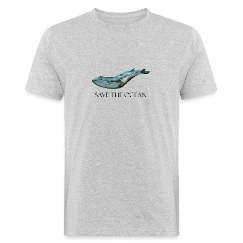 SAVE THE OCEAN ręcznie malowany wieloryb - Ekologiczna koszulka męska
