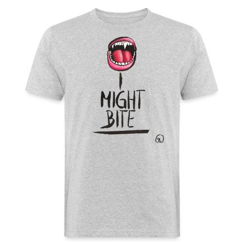 I might bite - Vampir Zähne geöffneter Mund - Männer Bio-T-Shirt