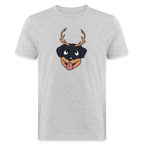 Baby Rottweiler mit Geweih - Männer Bio-T-Shirt