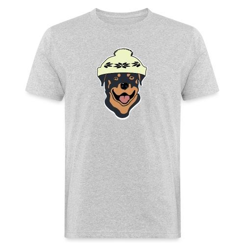 Rottweiler mit Pudelmütze - Männer Bio-T-Shirt