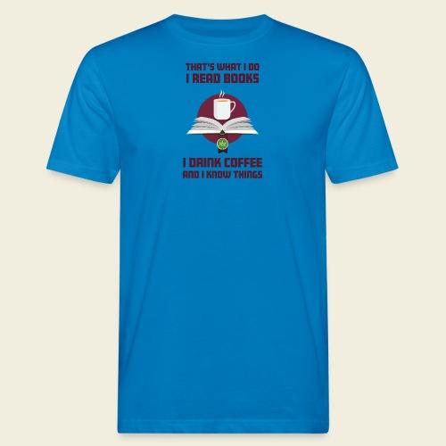Buch und Kaffee, dunkel - Männer Bio-T-Shirt
