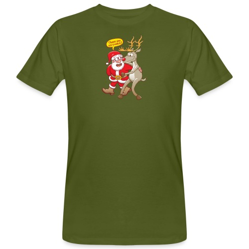 Santa thanks deeply to his red-nosed reindeer - Men's Organic T-Shirt