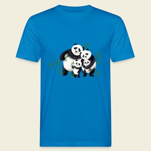 Pandafamilie zwei Kinder - Männer Bio-T-Shirt