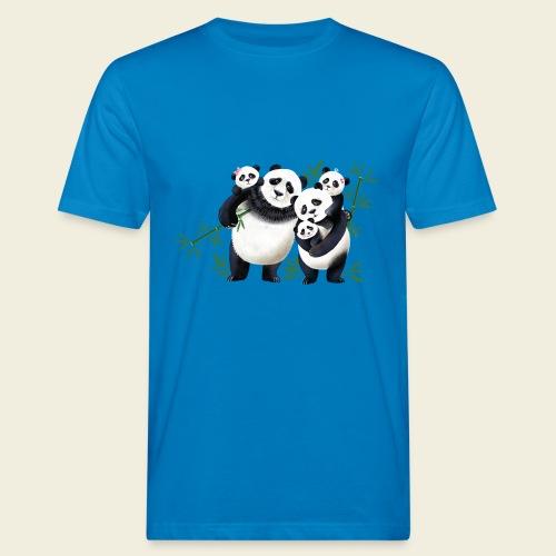 Pandafamilie drei Kinder - Männer Bio-T-Shirt