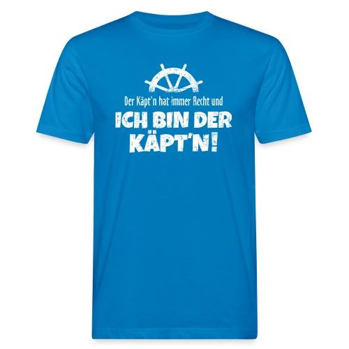 Der Käpt'n hat immer Recht (Weiß) Boot & Segeln - Männer Bio-T-Shirt