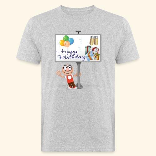 Happy Birthday Signpost with balloons - Men's Organic T-Shirt