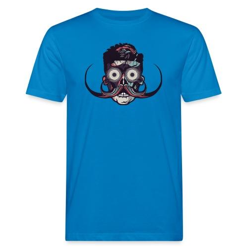 hipster tete de mort crane barbu skull moustache b - T-shirt bio Homme