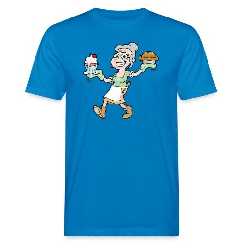 Happy Grandma Carrying Pie and Cake - Men's Organic T-Shirt