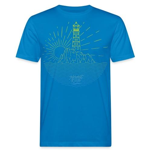 Leuchtturm mit Sonne am Meer - Männer Bio-T-Shirt
