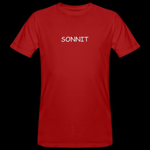 SONNIT WHITE OVER RED - Men's Organic T-Shirt