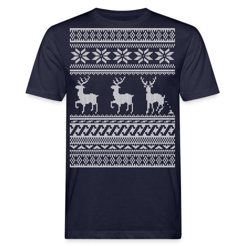 Ugly Christmas Sweater Rentier Muster (lustig) - Männer Bio-T-Shirt