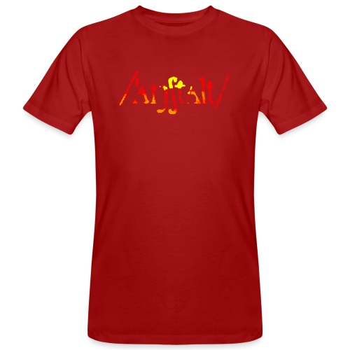 /'angstalt/ logo gerastert (flamme) - Männer Bio-T-Shirt