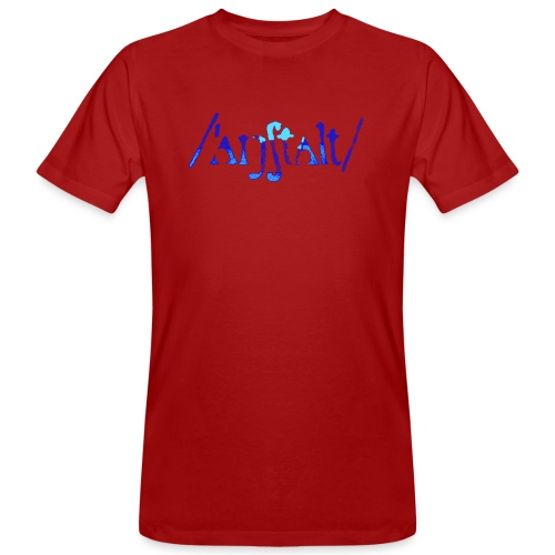 /'angstalt/ logo gerastert (blau/transparent) - Männer Bio-T-Shirt